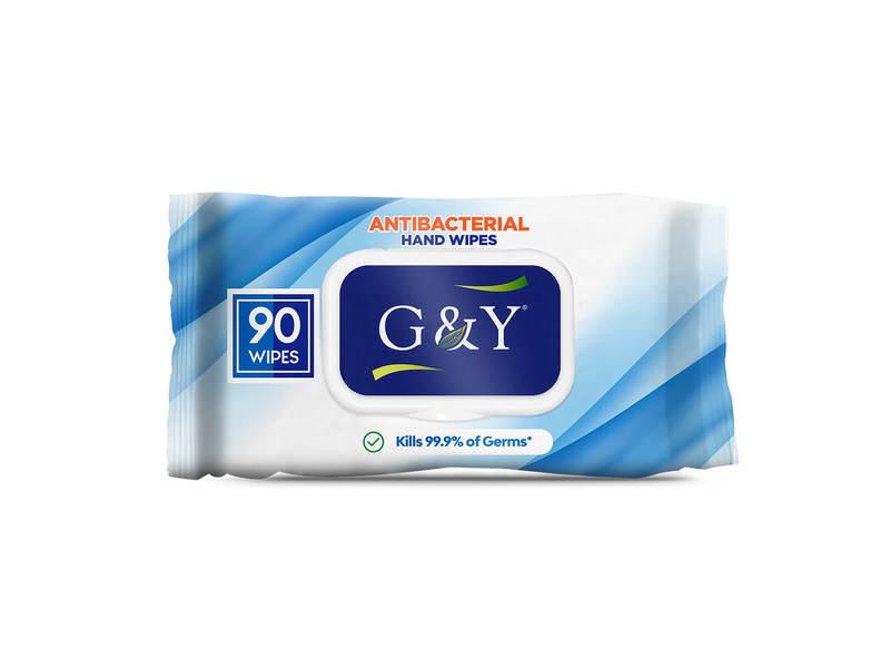 G & Y Antibacterial Hand Wipes, 90 Wipes