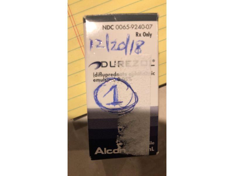 Durezol (difluprednate ophthalmic emulsion) 0.05% (RX), 8 mL, Alcon