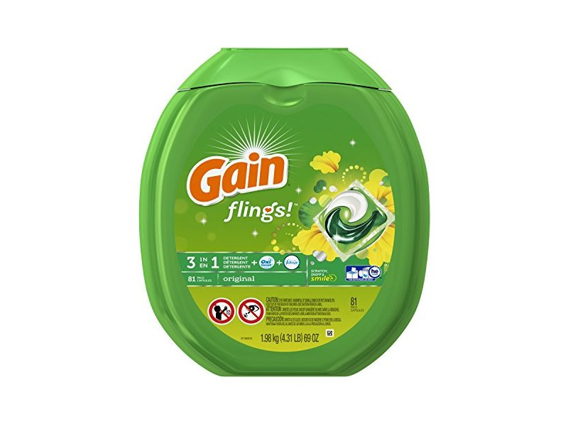 Gain Flings Original Laundry Detergent Pacs, 81 Count