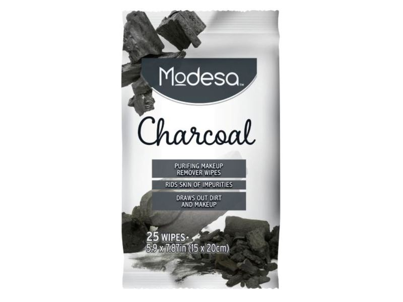 Modesa Makeup Remover Wipes, Charcoal, 25 ct