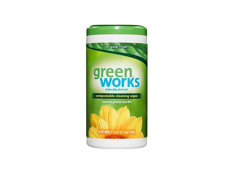 Greenworks Compostable Cleaning Wipes, 62 ct