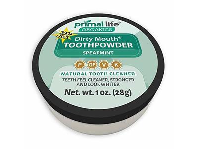 Primal Life Organics Dirty Mouth Organic Toothpowder, Spearmint, 1oz