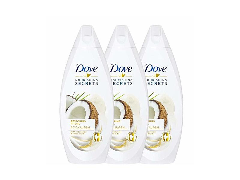 Dove Restoring Ritual, Coconut Oil and Almond Milk Body Wash - 3 Packs x 16.9 Fl.Oz / 500ml Ea