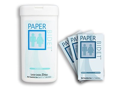 Paper Bidet Combo - Flushable, Biodegradable, Unscented Toilet Wipes Canister & Individual Packs