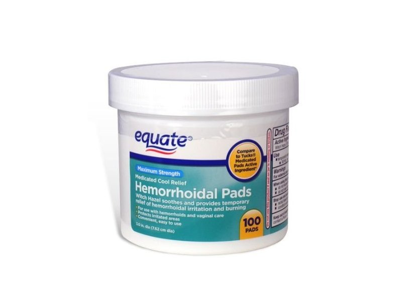 Equate Hygienic Cleansing Pads, Hemorrhoidal Vaginal Medicated Pads, 100 Pads