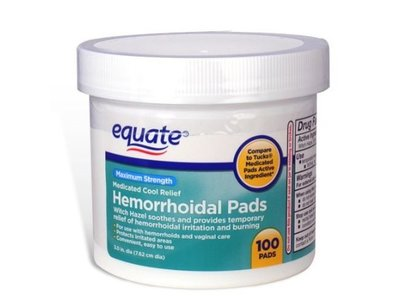 Equate Hygienic Cleansing Pads, Hemorrhoidal Vaginal Medicated Pads, 100 Pads - Image 1