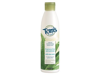 Tom's of Maine Natural Moisturizing Body Wash Soap with Aloe Vera, Fragrance Free, 12 oz