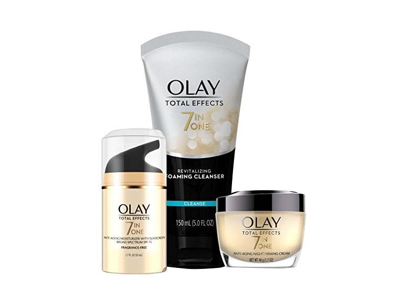 Olay Total Effects Day to Night Anti-Aging Skincare Kit with Cleanser, SPF & Night Cream