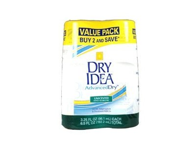 Dry Idea Advanced Roll On Antiperspirant and Deodorant, Unscented, Twin Pack, 3.25 Oz Ea