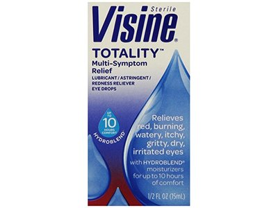 Visine, Multi-Symptom Relief Eye Drops Totality, Lubricant & Astringent Redness Reliever, 0.5 oz