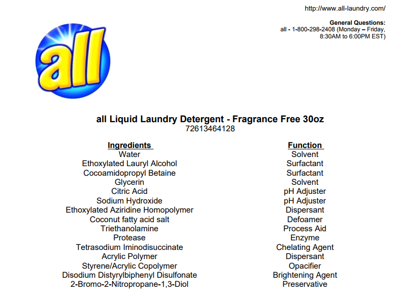 All Fresh Clean Essentials Laundry Detergent, Fragrance Free