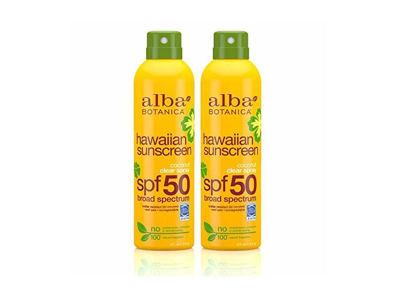 Alba Botanica Hawaiian Sunscreen Coconut Clear Spray, SPF 50, Twin-Pack
