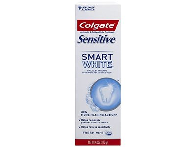Colgate Sensitive Smart White Whitening Foaming Toothpaste - 4 ounce (6 Pack)