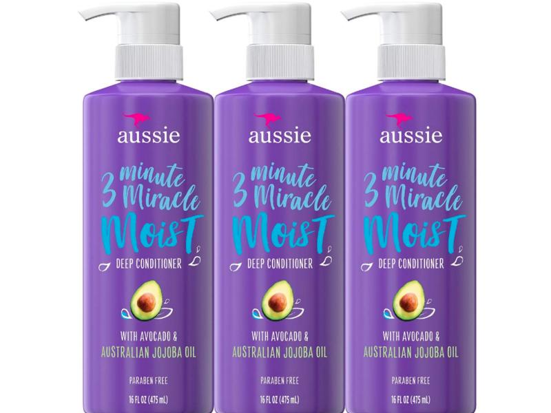 Aussie 3 Minute Miracle Moist Deep Conditioner, Avocado & Australian Jojoba Oil, 16 fl oz/475 mL, Pack Of 3