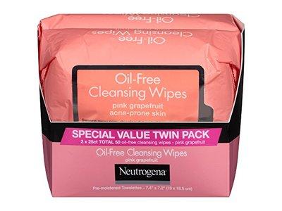Neutrogena Oil-Free Cleansing Wipes, Pink Grapefruit, 2-pack