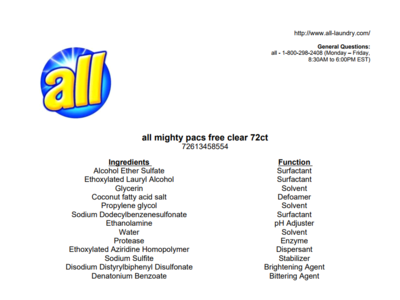 All Free Clear Mighty Pacs Laundry Detergent with Stainlifters, 72 Count - Image 4