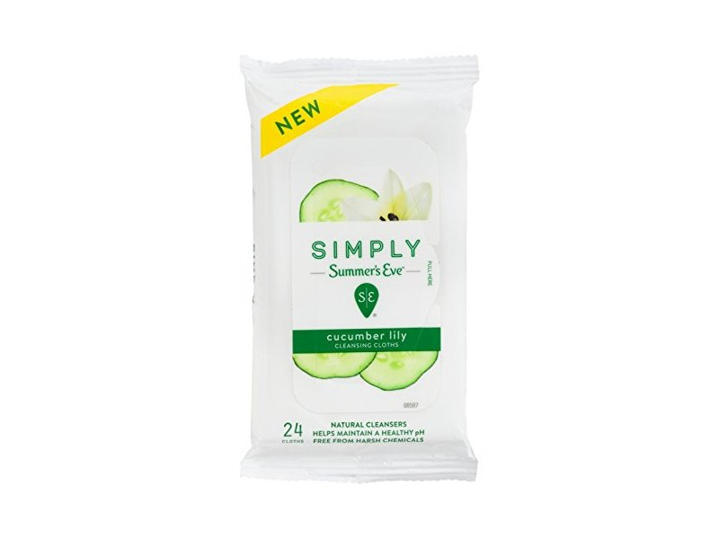 Summers Eve Simply Cleansing Cloths 24 Count (Soft-Pack) (2 Pack)