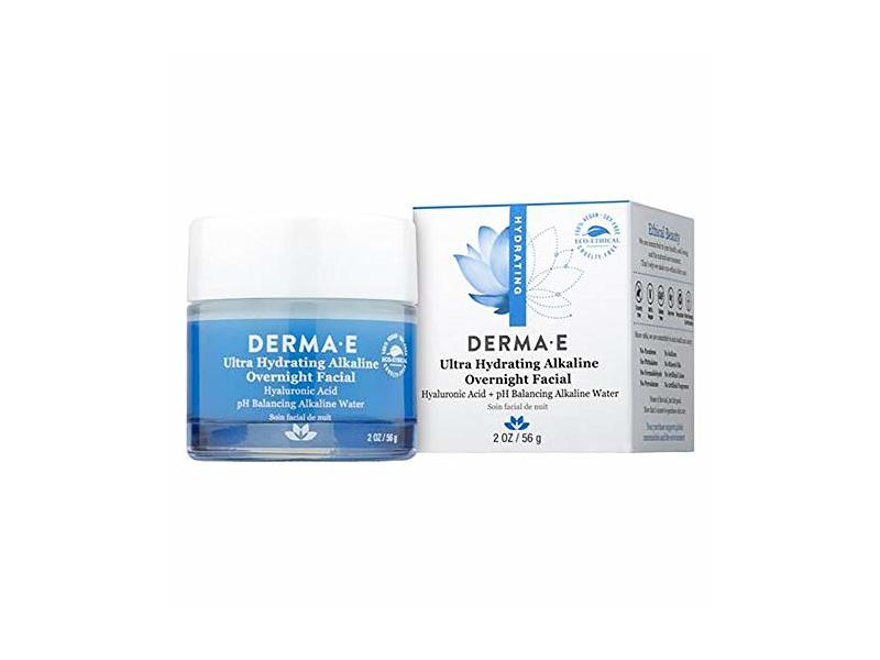 Derma E Ultra Hydrating Alkaline Overnight Facial, Hyaluronic Acid + Ph Balancing Alkaline Water, 2 oz/56 g