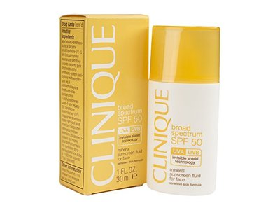 Clinique SPF 50 Mineral Sunscreen Fluid for Face, 1.0 fl oz/30mL