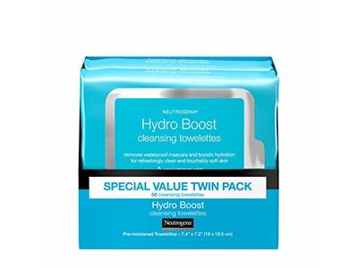 Neutrogena HydroBoost Facial Cleansing & Makeup Remover Wipes with Hyaluronic Acid, Twin Pack, 25 ct