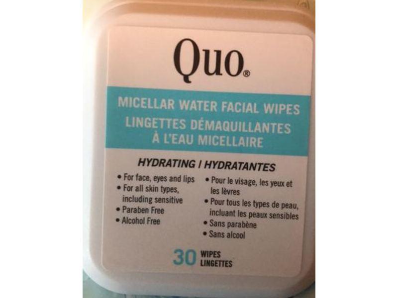 Quo Micellar Water Facial Wipes, 30 ct