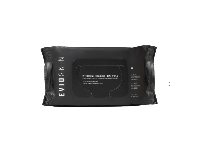 Evio Skin Aurora Refreshing Cleansing Hemp Wipes, 15 Ct