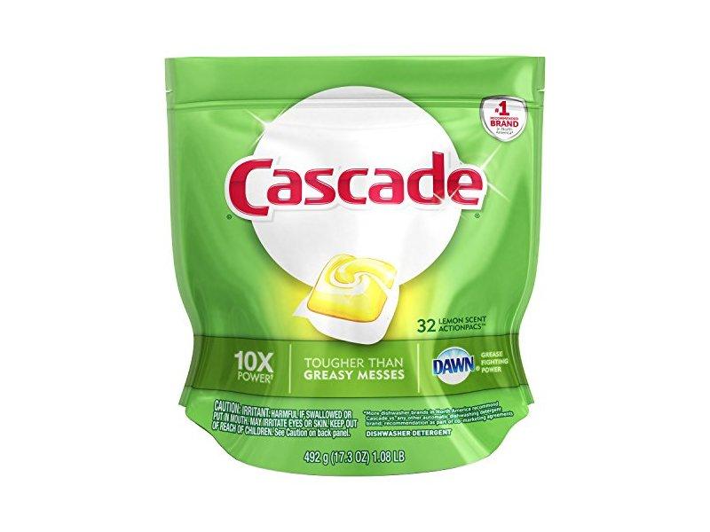 Cascade ActionPacs Dishwasher Detergent, Lemon Scent, 32 count