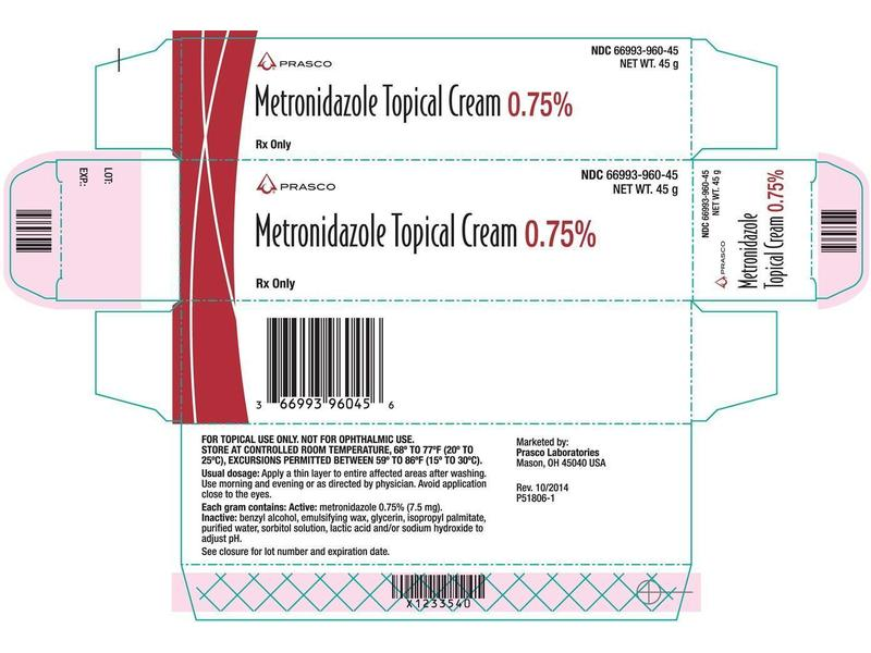 Metronidazole Topical Cream 0.75% (RX), 45 g by Prasco