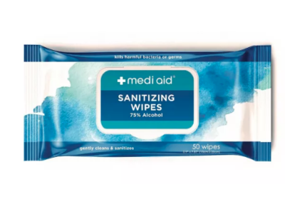 Mediaid Sanitizing Wipes, 50 Counts