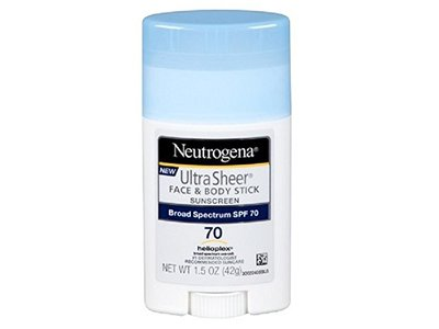 Neutrogena Ultra Sheer Face & Body Stick Sunscreen, Broad Spectrum SPF 70, 1.5 Oz