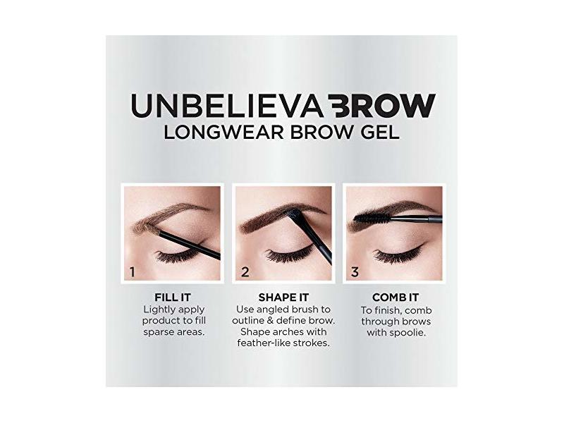 6cb41c29af2e L'Oreal Paris Unbelieva-Brow Tinted Brow Makeup, Longwear, Waterproof Brow  Gel, Light Brunette, 0.15 fl. oz. Ingredients and Reviews