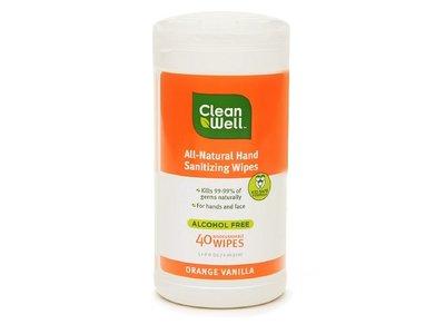 CleanWell Hand Sanitizing Wipes, Orange/Vanilla, 40 CT, 6 pack