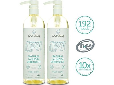 Puracy Natural Natural Laundry Detergent 10X, Free and Clear, 192 loads, 24 Ounce Bottle, (Pack of 2)