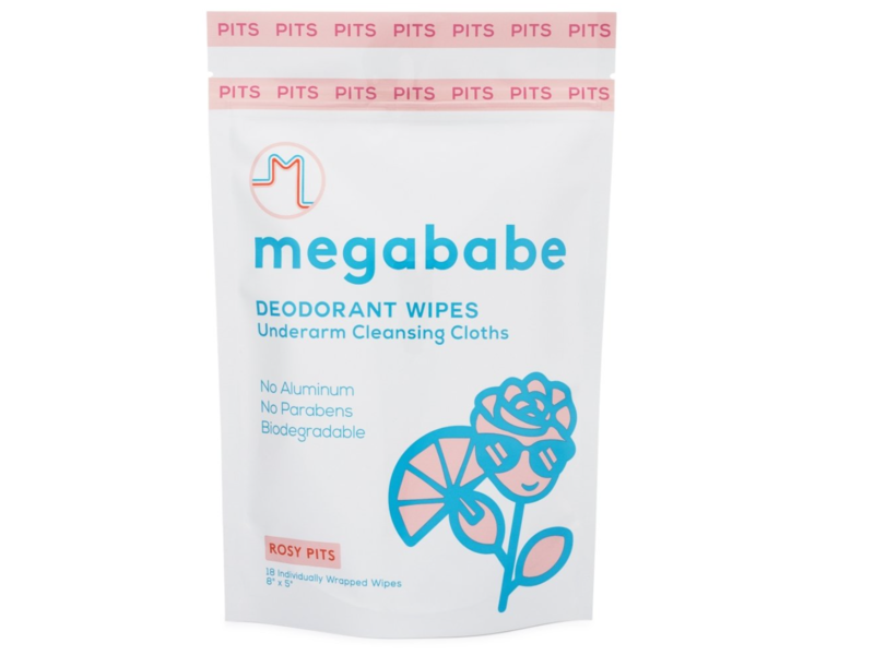 Megababe Rosy Pits Aluminum-Free Deodorant Wipes, 18 count