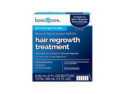 Basic Care Minoxidil Topical Solution USP, 5% Hair Regrowth Treatment for Men, 12.0 fl oz