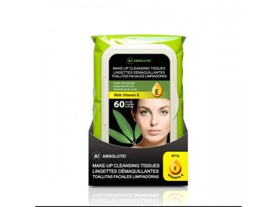 Absolute New York Make-Up Cleansing Tissues Green Tea Extract, 60 CT