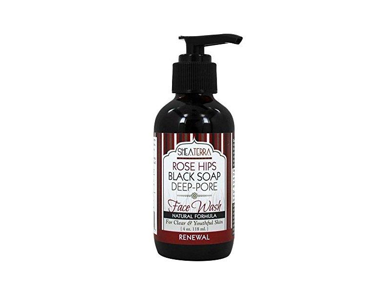 Shea Terra Rose Hips Black Soap Face Wash, 4 oz/118 mL
