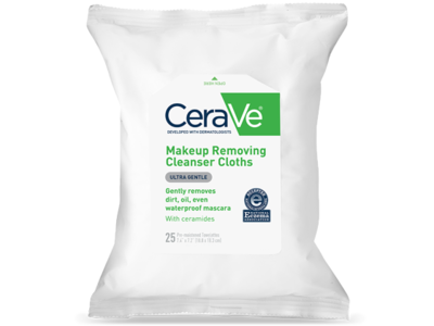 CeraVe Makeup Removing Cleanser Cloths Ultra Gentle Wipes, 25CT