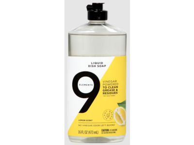9 Elements Liquid Dish Soap, Lemon Scent, 16 fl oz/473 ml
