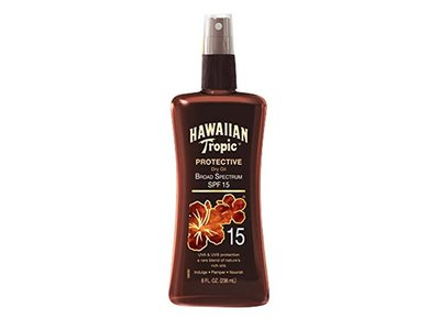 Hawaiian Tropic Sunscreen Protective Tanning Dry Oil Broad Spectrum Sun Care Sunscreen Spray, SPF 15, 8 Ounce - Image 1