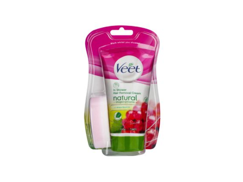 Veet In-Shower Hair Removal Cream, Grape Seed Oil, 150 mL