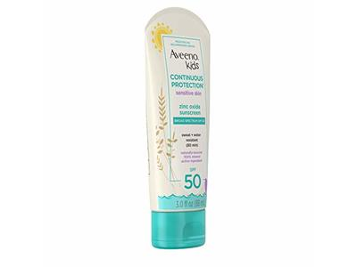 Aveeno Kids Continuous Protection Zinc Oxide Mineral Sunscreen Lotion for Children's Sensitive Skin SPF 50 3 oz - Image 6