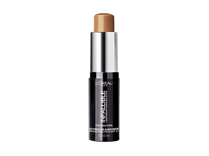 L'Oreal Paris Makeup Infallible Longwear Foundation Shaping Stick, Up to 24hr Wear, Medium to Full Coverage Cream Foundation Stick, 410 Cocoa, 0.3 oz.