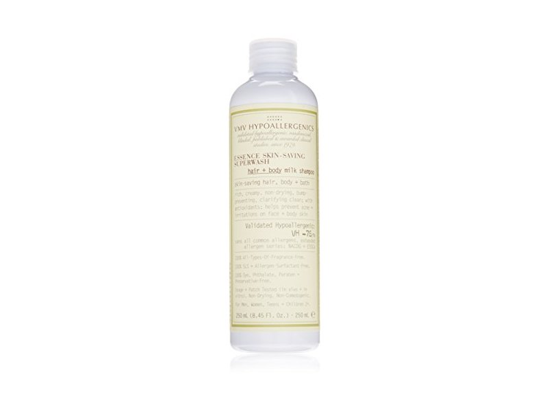 VMV Hypoallergenics Essence Skin-Saving Superwash Hair and Body Milk Shampoo, 8.45 Ounce