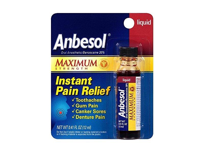 Anbesol Maximum Strength Instant Pain Relief Liquid, 0.41 oz (Pack of 2)
