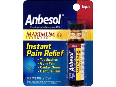 Anbesol Maximum Strength Instant Pain Relief Liquid, 0.41 oz (Pack of 2)