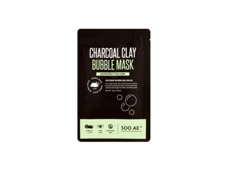 SOO AE Charcoal Clay Bubble Mask, Oxygen Bubbling, 0.35 oz
