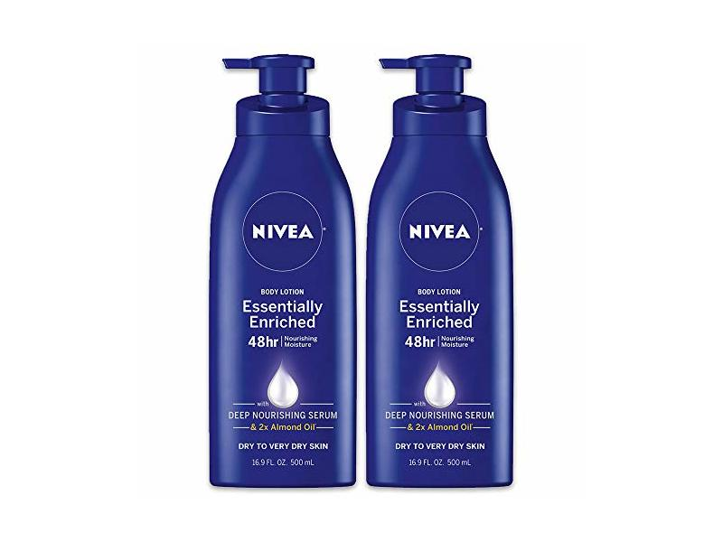 NIVEA Essentially Enriched Body Lotion - 48 Hour Moisture For Dry to Very Dry Skin - 16.9 Fl. Oz. Bottles