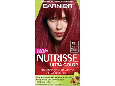 Garnier Nutrisse Ultra Color Nourishing Hair Color Creme, R3 Light Intense Auburn