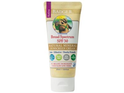 Badger Zinc Oxide Sunscreen Cream, Unscented SPF 30, 2.9 fl oz